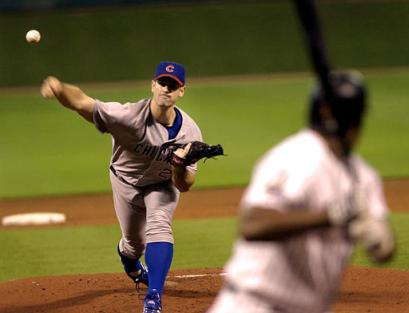 Mark Prior deals a pitch...does that look healthy on his shoulder?